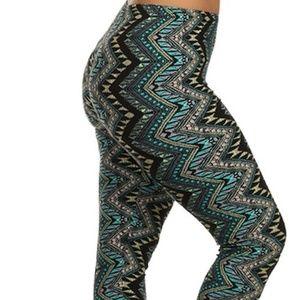 7dad9dad6 LEGGINGS DEPOT Pants - NEW PLUS GREEN BLACK CHEVRON LEGGINGS